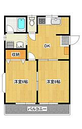 平出町 2DK アパート[2階]の間取り