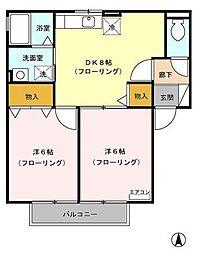静岡県富士宮市矢立町の賃貸アパートの間取り