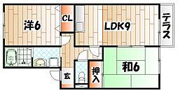 福岡県北九州市八幡西区本城東2の賃貸アパートの間取り