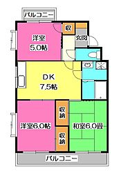 埼玉県所沢市東所沢和田2丁目の賃貸マンションの間取り