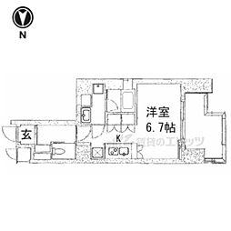京都市営烏丸線 五条駅 徒歩13分の賃貸マンション 5階1Kの間取り