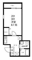 ハーミットクラブハウス横浜蒔田[2階]の間取り