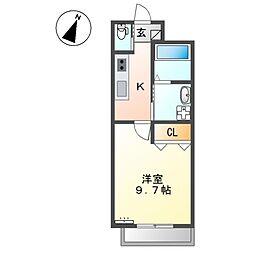 (仮)那覇市牧志M様新築マンション 3階1Kの間取り
