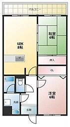 エタージュ高井田[3階]の間取り