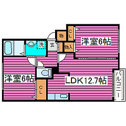 北海道札幌市北区篠路二条2丁目の賃貸アパートの間取り