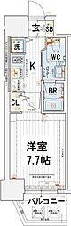 エステムコート南堀江IIICHURA 14階1Kの間取り