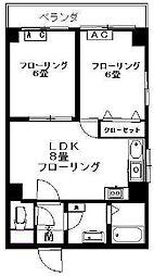 都営三田線 千石駅 徒歩1分の賃貸マンション 4階2LDKの間取り