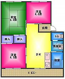 小坂ハイツ 1号棟[3階]の間取り