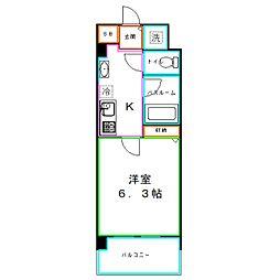 JR中央本線 国分寺駅 徒歩2分の賃貸マンション 10階1Kの間取り