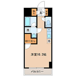 仙台市営南北線 勾当台公園駅 徒歩3分の賃貸マンション 8階ワンルームの間取り