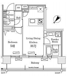 新交通ゆりかもめ 新豊洲駅 徒歩22分の賃貸マンション 4階1LDKの間取り