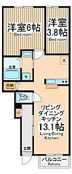 JR青梅線 中神駅 徒歩15分の賃貸アパート 1階2LDKの間取り
