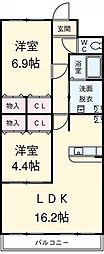 愛知県安城市緑町2丁目の賃貸マンションの間取り