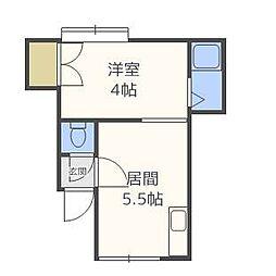クルーズハウス北14条A棟[2階]の間取り