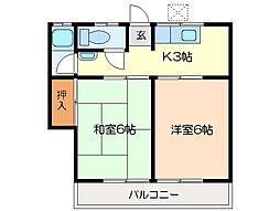 東新コーポ[2階]の間取り