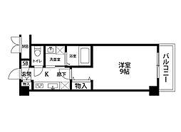ファーストクラス神道寺 2階1Kの間取り