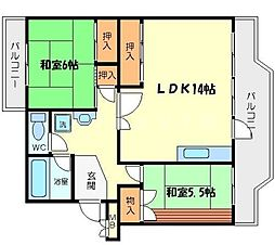 粟生第四住宅4号棟[5階]の間取り