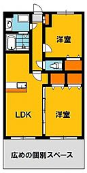 Y&Mファーストステージ 1階2LDKの間取り