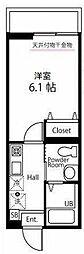 ハーミットクラブハウス大口通 1階1Kの間取り