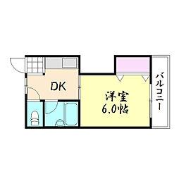 大河内ビル[2B号室]の間取り