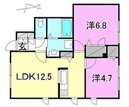 クレアガーデン A棟・B棟[A102 号室号室]の間取り