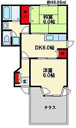 福岡県大野城市つつじケ丘5丁目の賃貸アパートの間取り