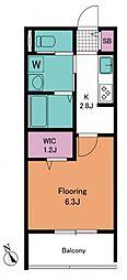 春志ハウス 2階1Kの間取り