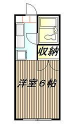 東京都日野市三沢3丁目の賃貸アパートの間取り