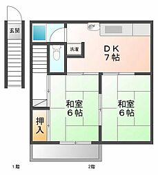 第6いずみ荘[2階]の間取り