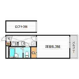 大阪府大阪市城東区新喜多東1丁目の賃貸マンションの間取り