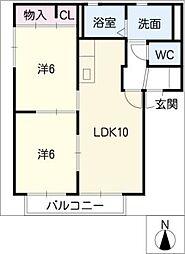 カームエイト B棟[2階]の間取り