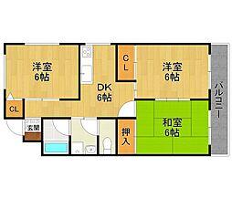 御願塚アパート[201号室]の間取り