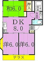 埼玉県八潮市大字中馬場の賃貸アパートの間取り