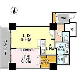 東京臨海高速鉄道りんかい線 品川シーサイド駅 徒歩1分の賃貸マンション 16階1LDKの間取り