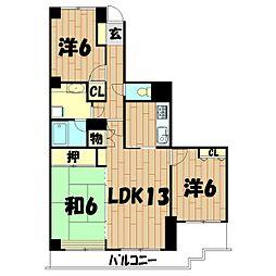 神奈川県横浜市旭区白根6丁目の賃貸マンションの間取り