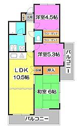 埼玉県富士見市関沢2丁目の賃貸マンションの間取り