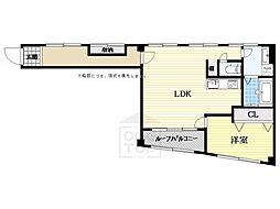 リバーサイド北堀江(旧村田第3ビル)[3階]の間取り