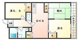 レジデンス鶴見緑地 4階3DKの間取り