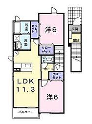広島県福山市瀬戸町大字長和の賃貸アパートの間取り