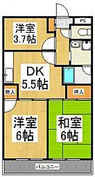 メゾンドボヌール武蔵野[4階]の間取り