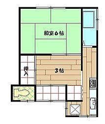 奥山アパートB[102号室]の間取り