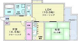 JR仙山線 東照宮駅 徒歩6分の賃貸マンション 2階2LDKの間取り