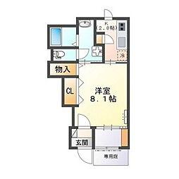 水戸市赤塚アパート新築工事 1階1Kの間取り