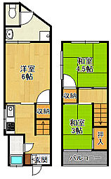 [タウンハウス] 兵庫県宝塚市雲雀丘2丁目 の賃貸【/】の間取り