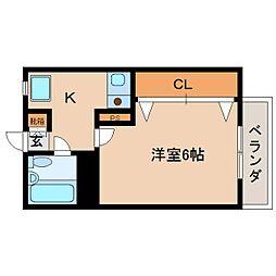 奈良県大和高田市旭南町の賃貸アパートの間取り