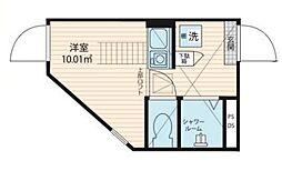 QUQURI Tokyo Shinjuku 地下1階ワンルームの間取り