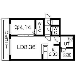 CORORE NANGOU(コローレ南郷) 2階1LDKの間取り