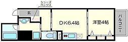 べラジオ京都梅小路 3階1DKの間取り