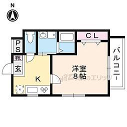 阪急嵐山線 上桂駅 徒歩10分の賃貸マンション 3階1Kの間取り