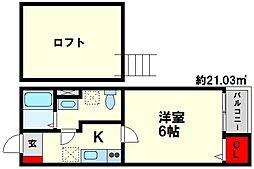 福岡県福岡市博多区光丘町2丁目の賃貸アパートの間取り